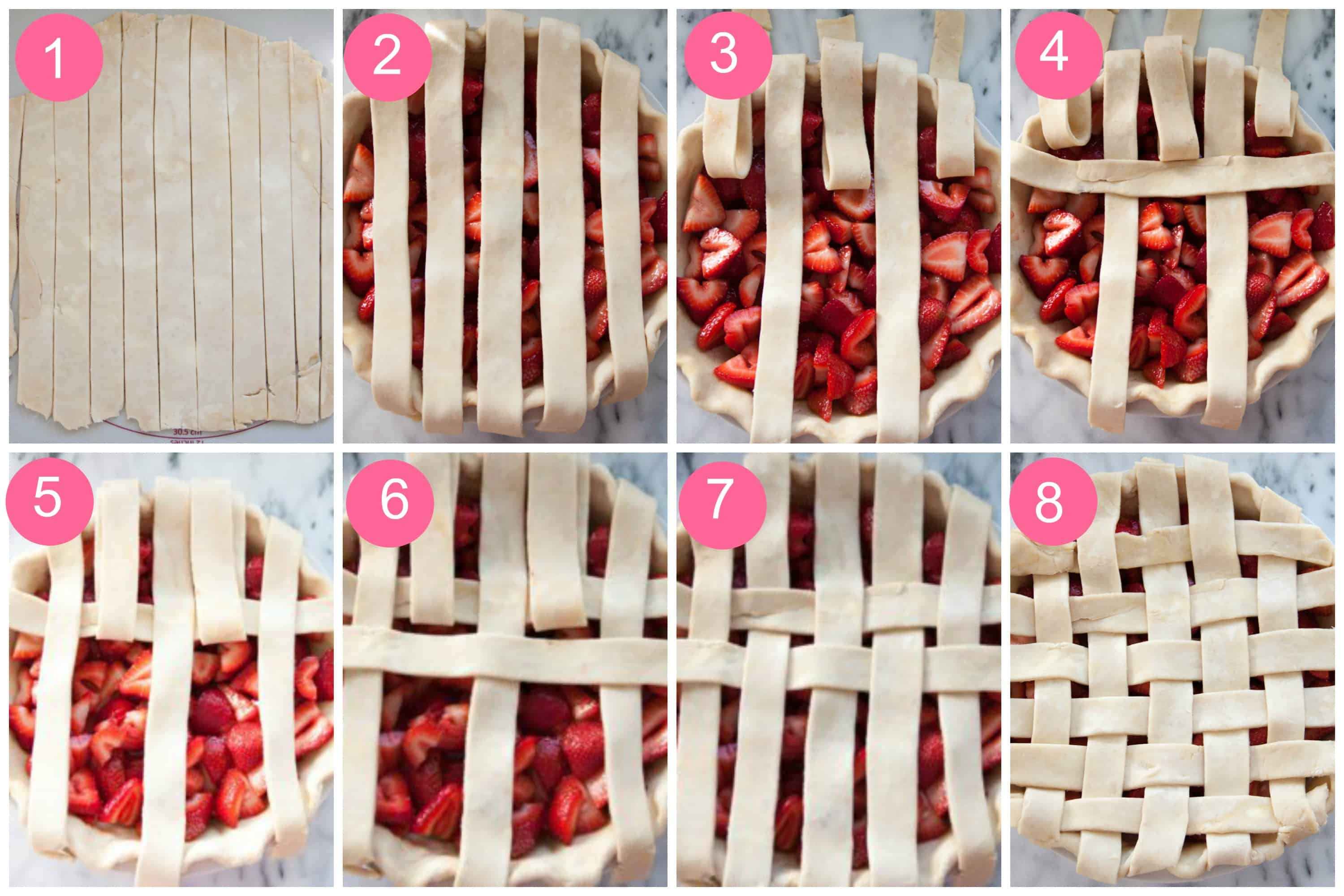 lattice pie crust tutorial collage