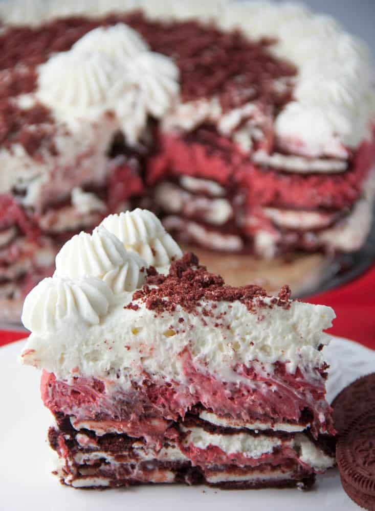Red Velvet Icebox Cake on a plate