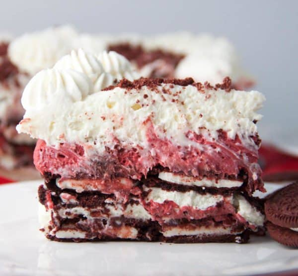Red Velvet Oreo Cheesecake Icebox Cake on a plate