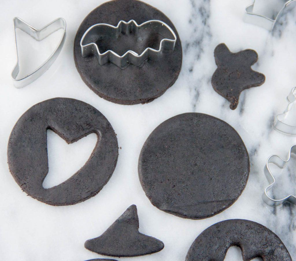 chocolate sugar cookies cut out with halloween cutters
