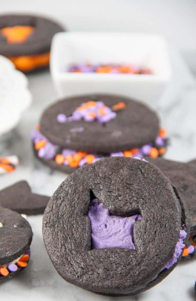Halloween Chocolate Sugar Cut Out Cookie Sandiwches