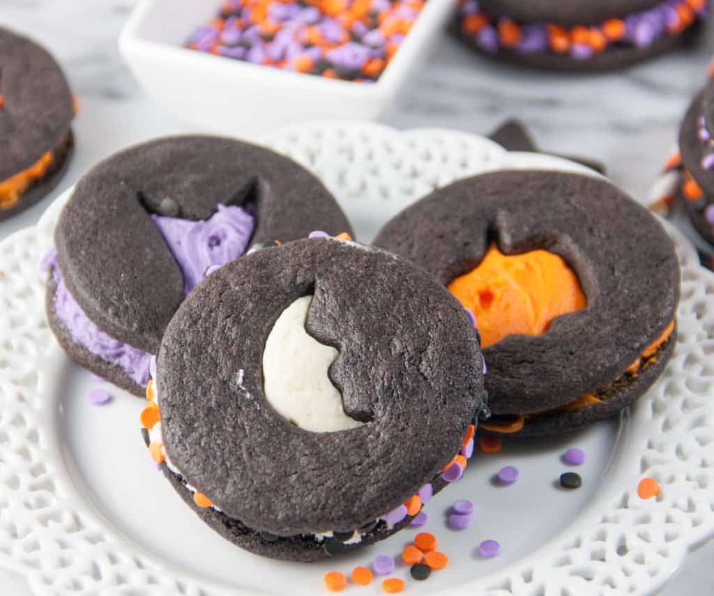 Halloween chocolate sugar cut out cookie sandwiches