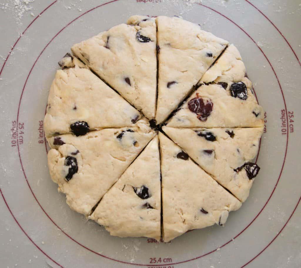 scone dough cut into 8 wedges