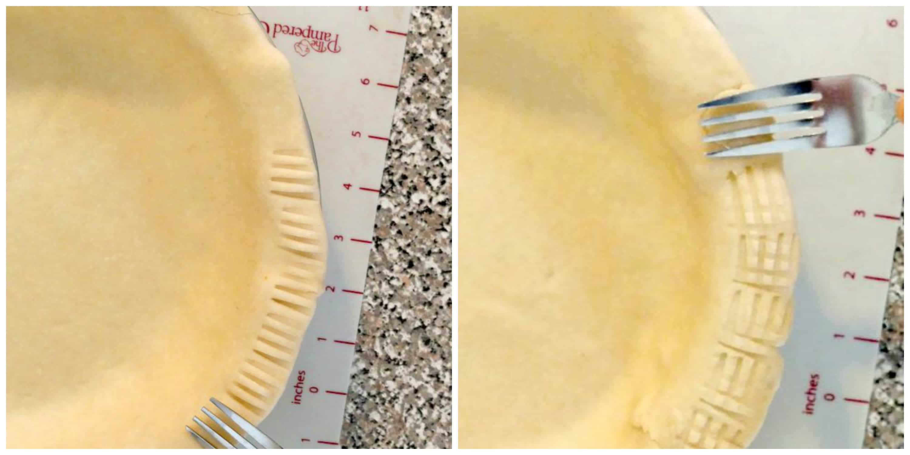 Pie crust edge made with a fork