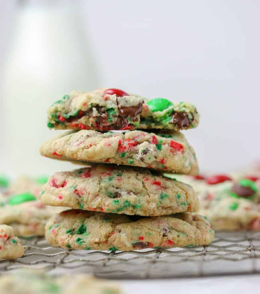 stack of M&M Christmas cookies