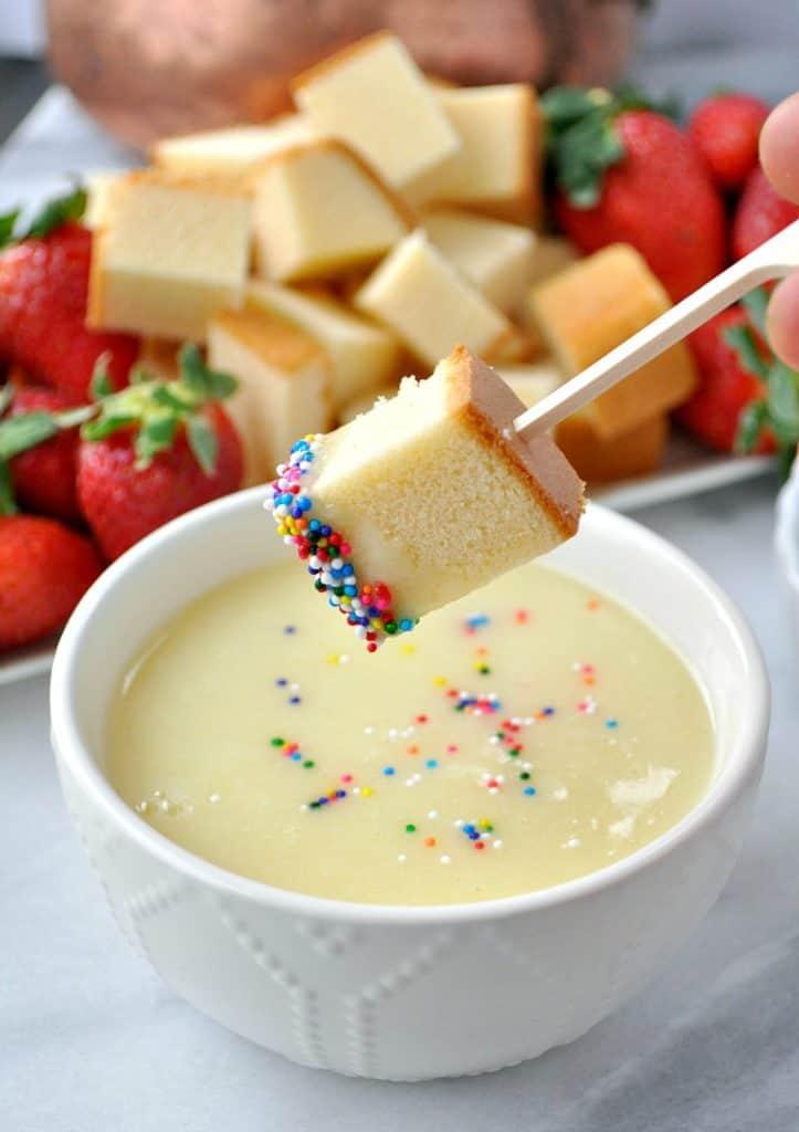 poundcake dipped in fondue