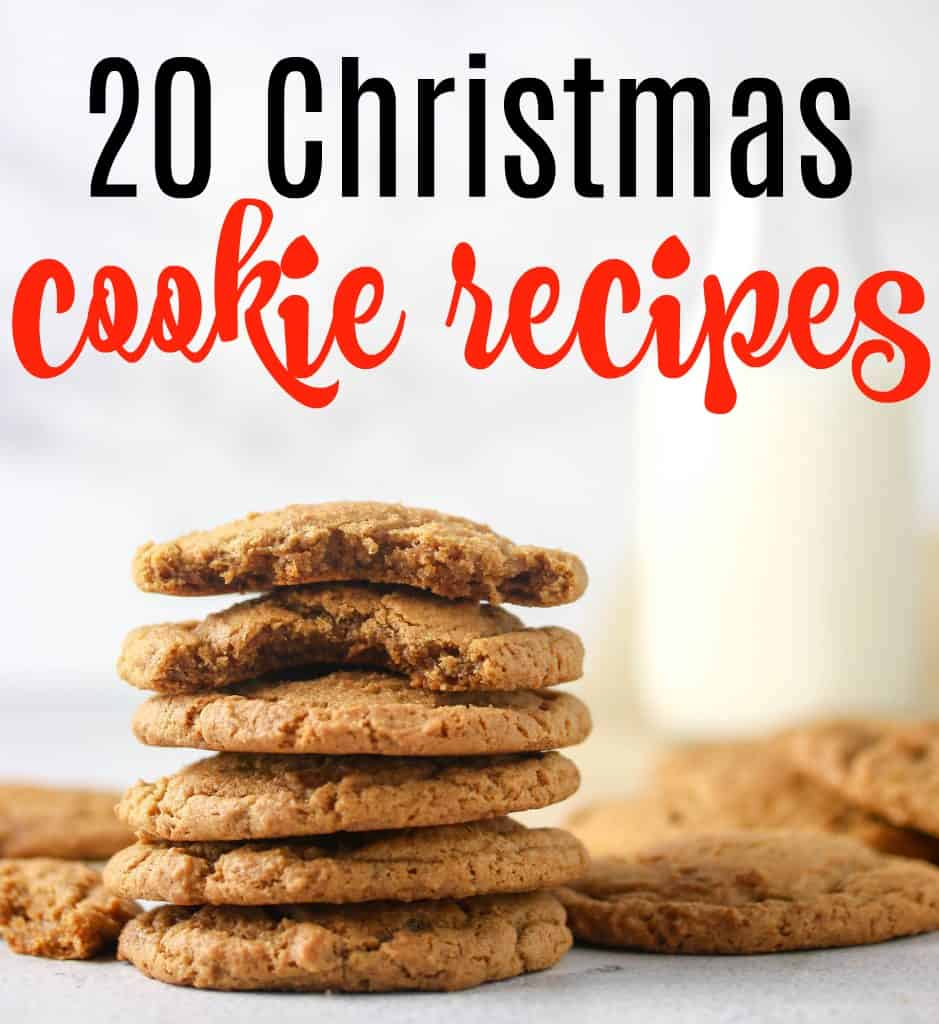 "Ginger molasses cookie photo wit words ""20 Christmas Cookie Recipes"""