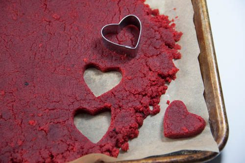hearts cut out of red velvet cake