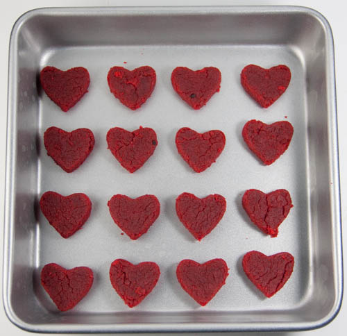 red velvet cake hearts in a cake pan