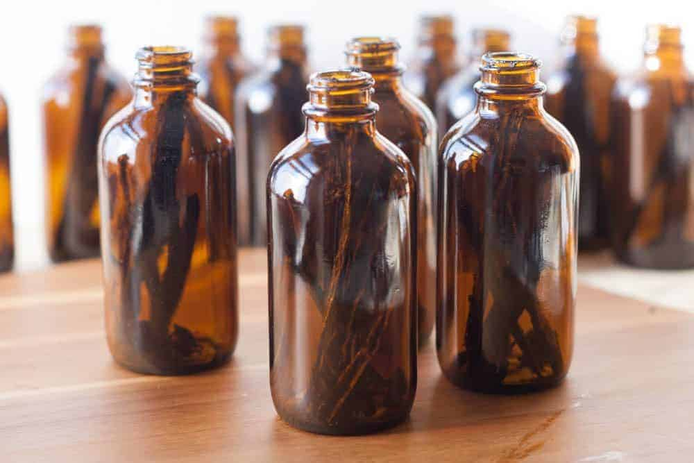 bottles of homemade vanilla extract