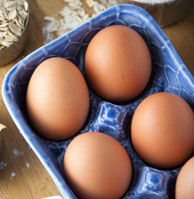 ceramic blue carton of brown eggs