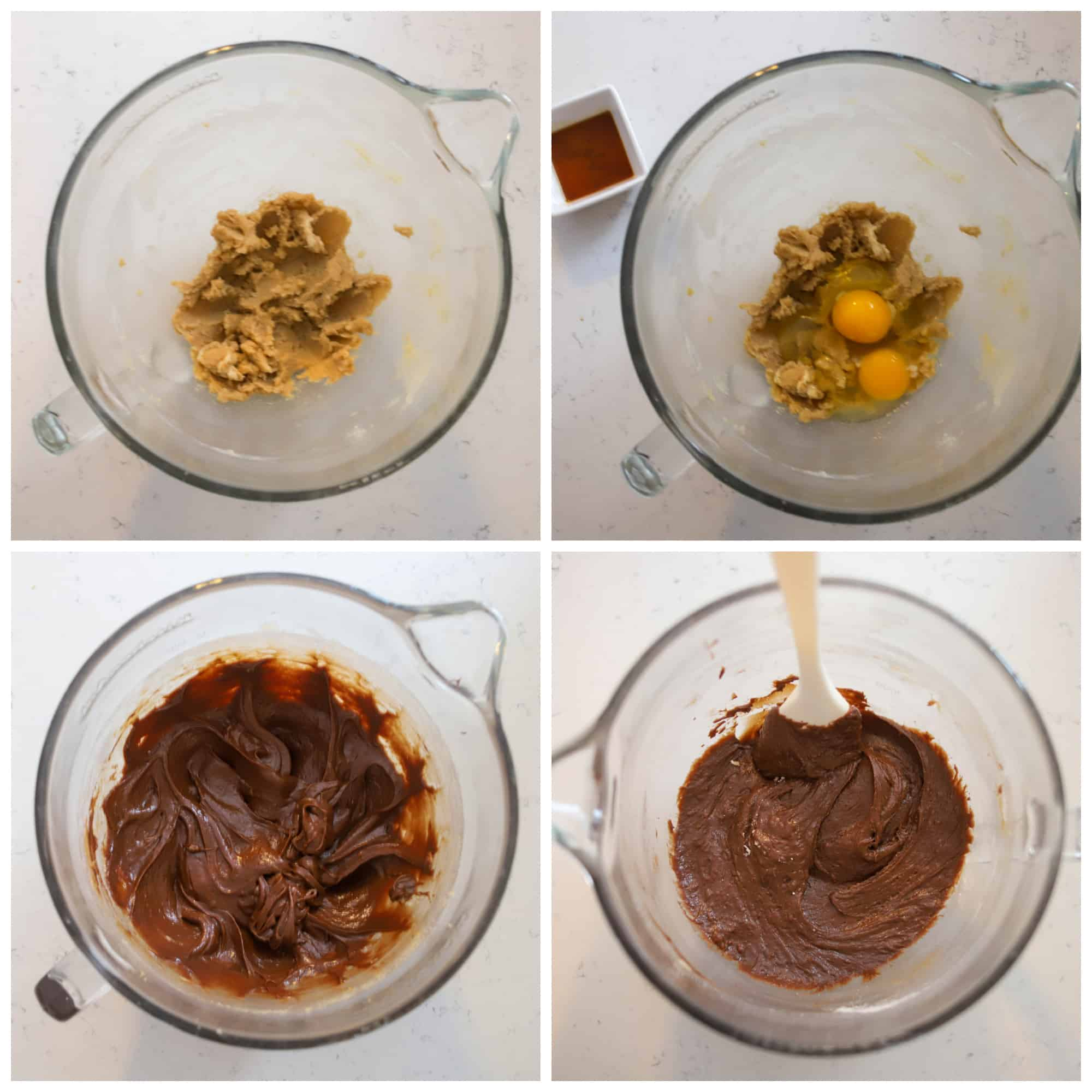 four photos showing how to make nutella brownie batter