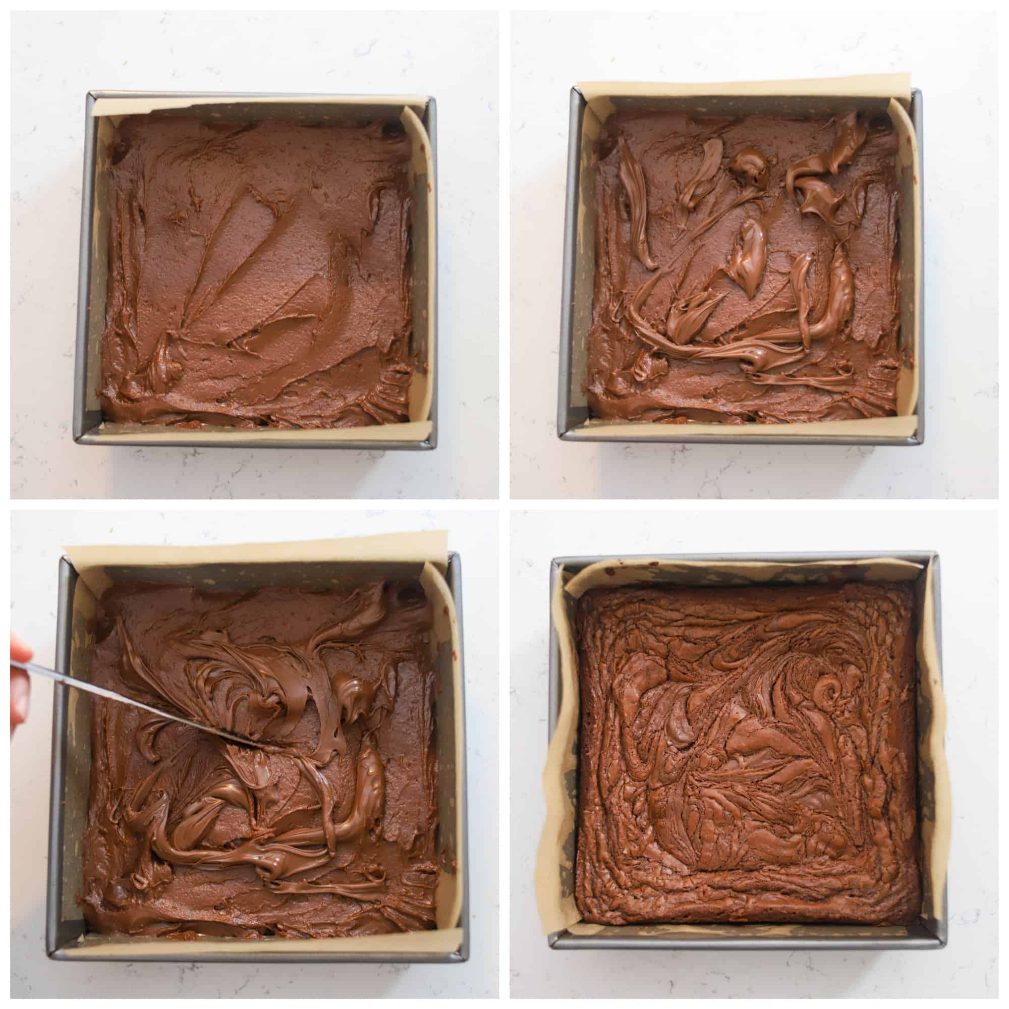 four photos of dolloping Nutella on top and swirling with a knife