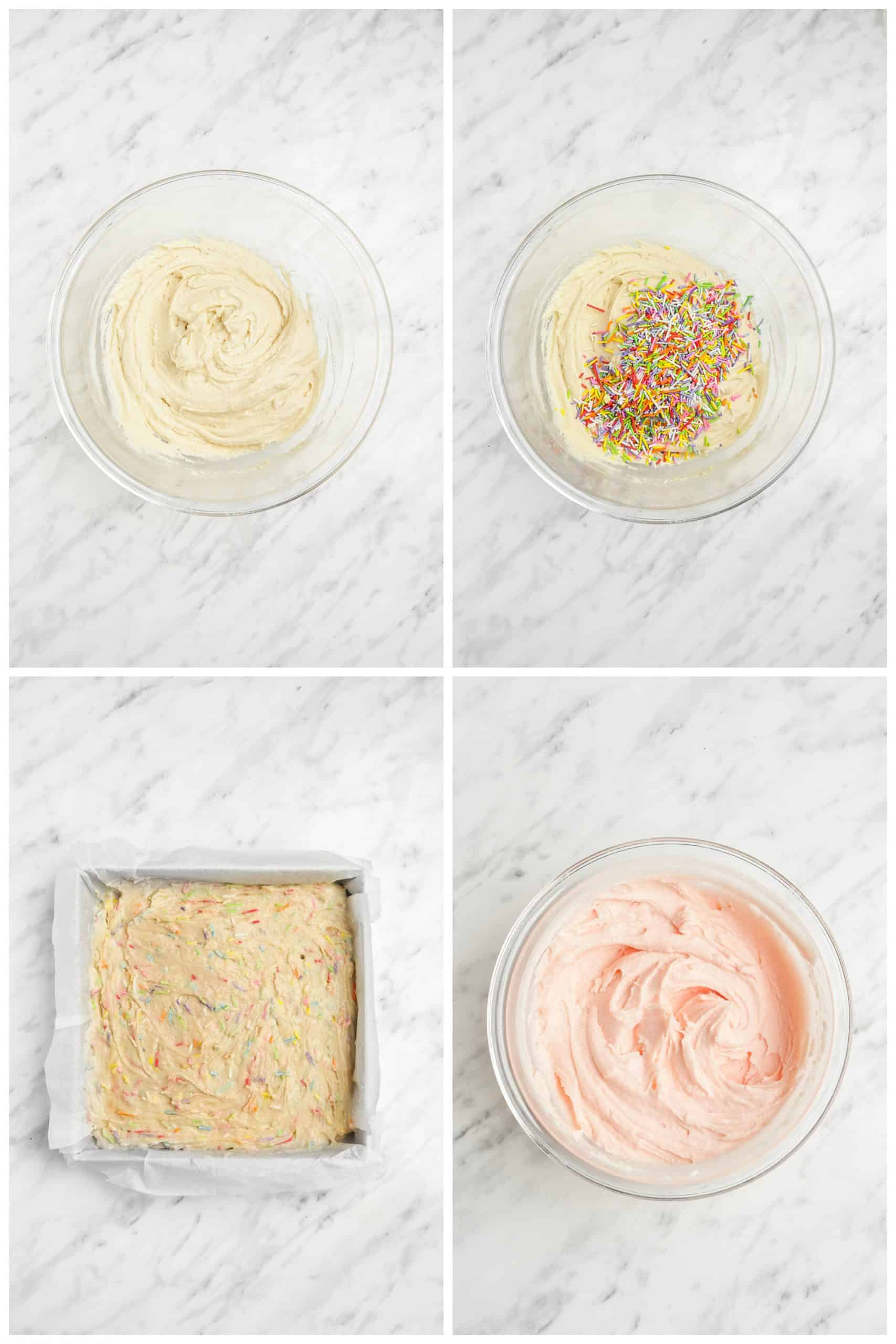 step by step photos of making frosted sugar cookie bars