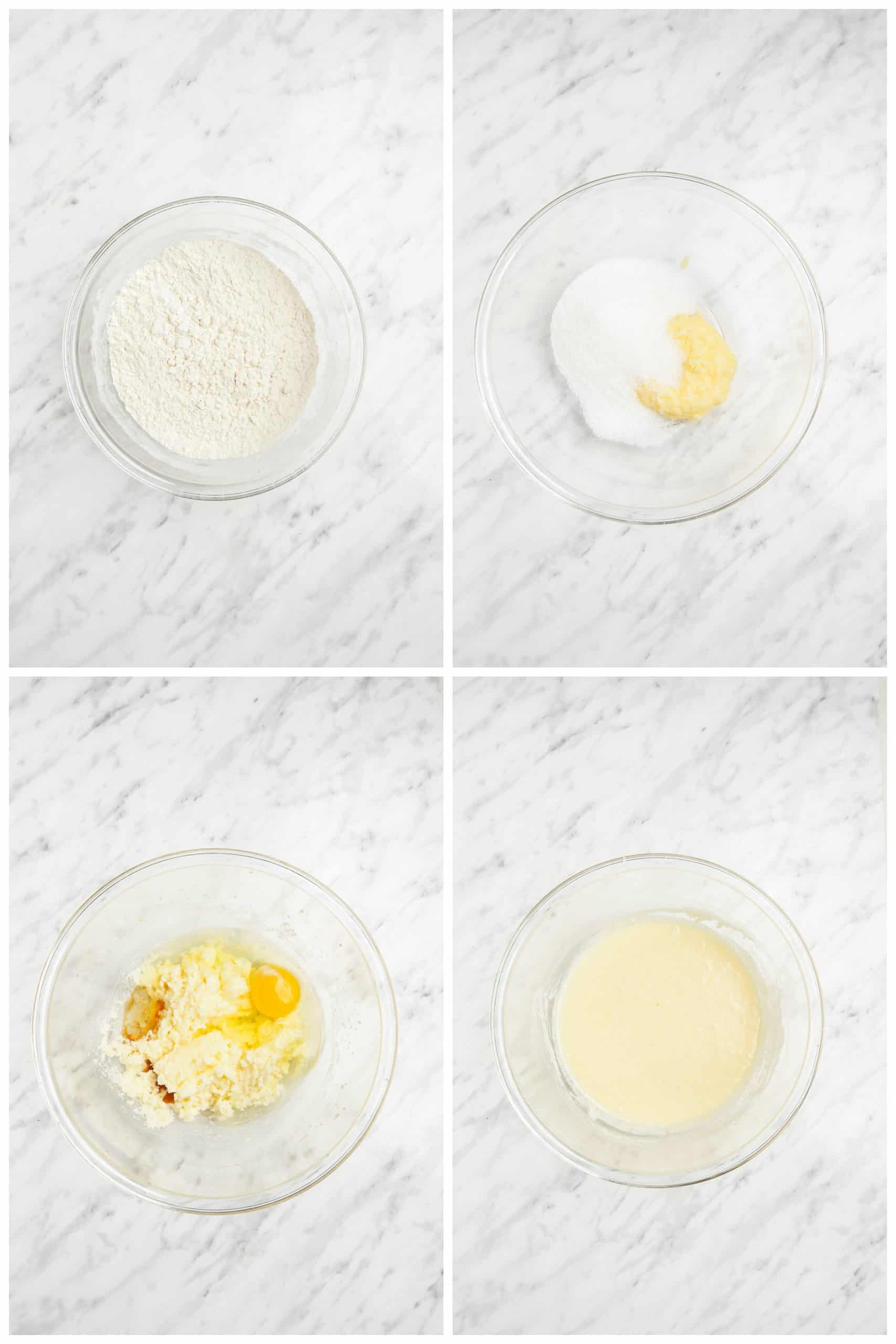 frosted sugar cookie bar step by step photos of making batter