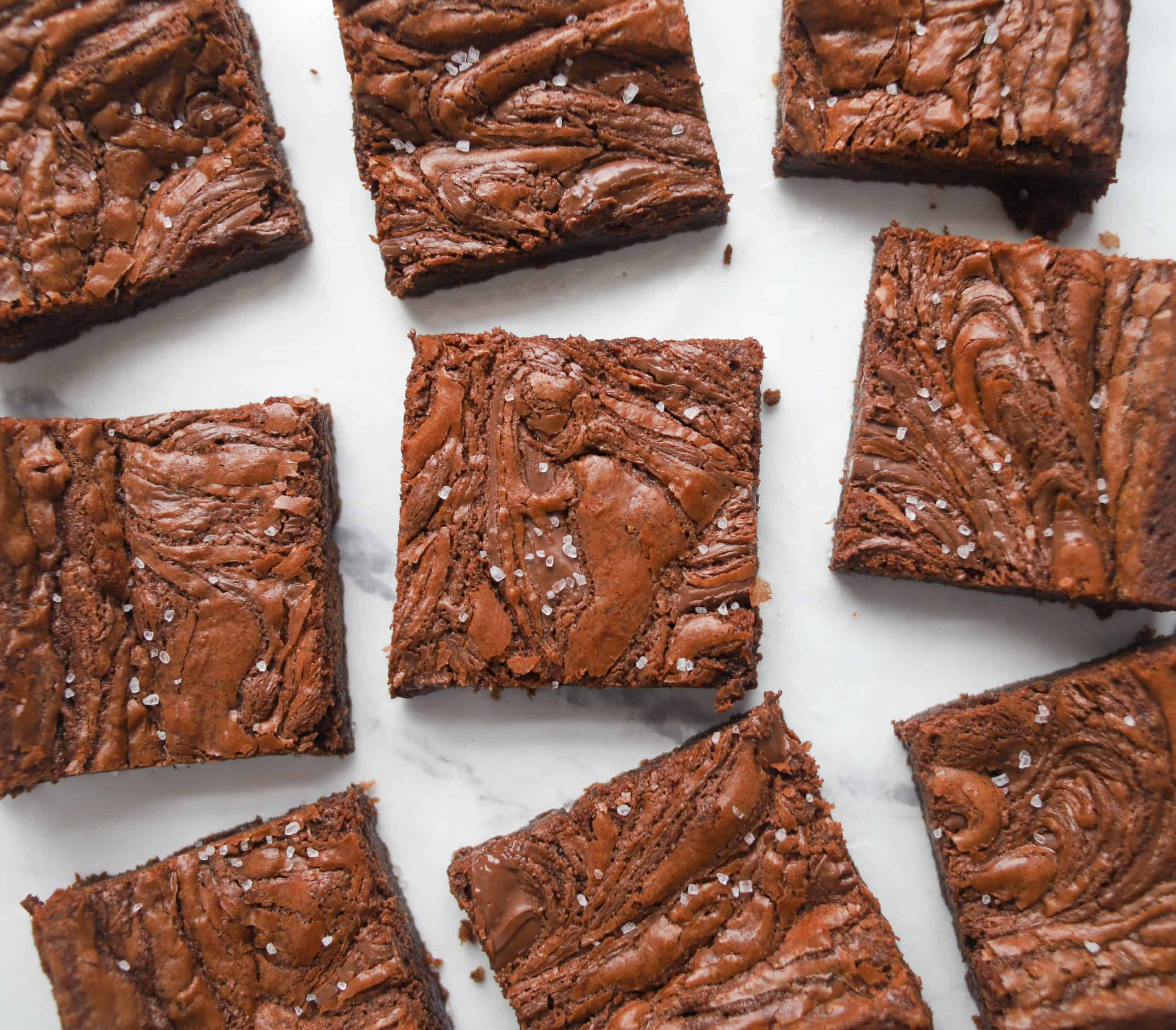 nutella brownies cut into squares