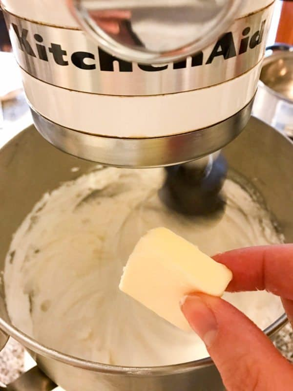 cubes of butter put into stand mixer
