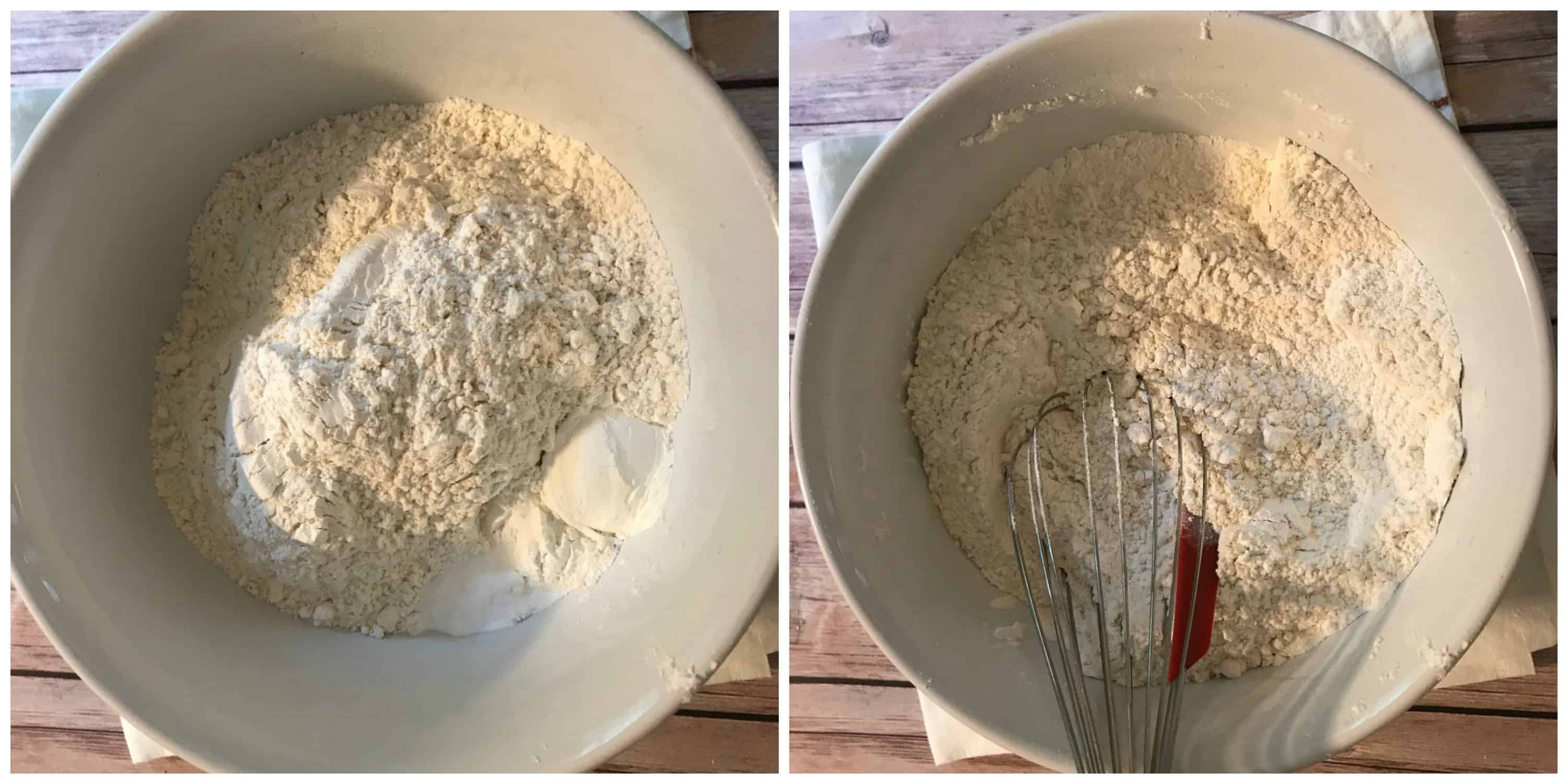 bowl of dry ingredients in a bowl being whisked