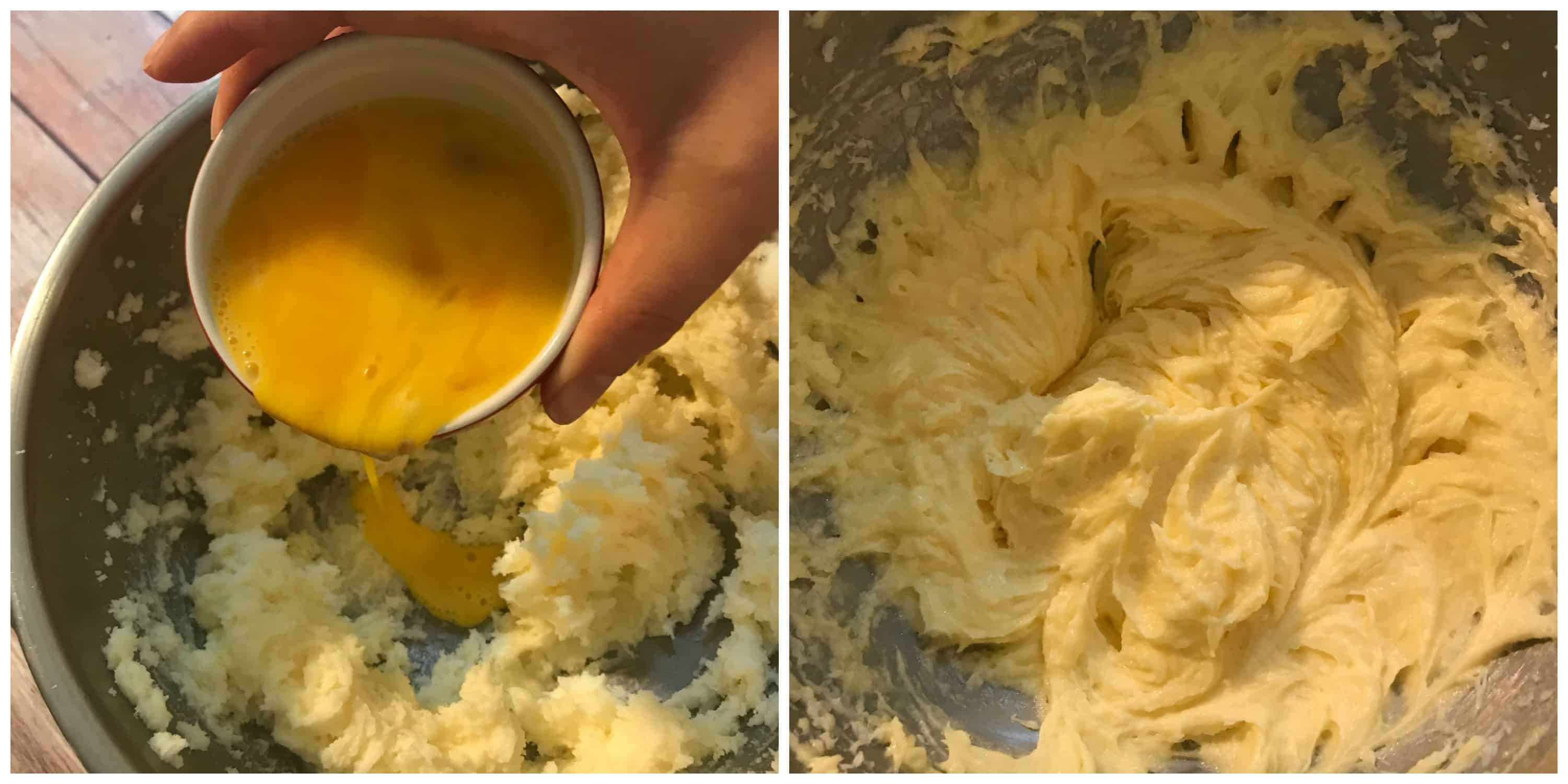 eggs being creamed into bowl