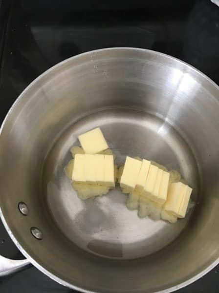 pan with butter and water