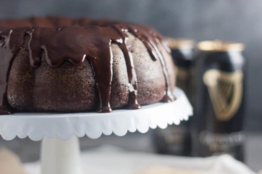 Dark Chocolate Guinness Cake on a cake stand