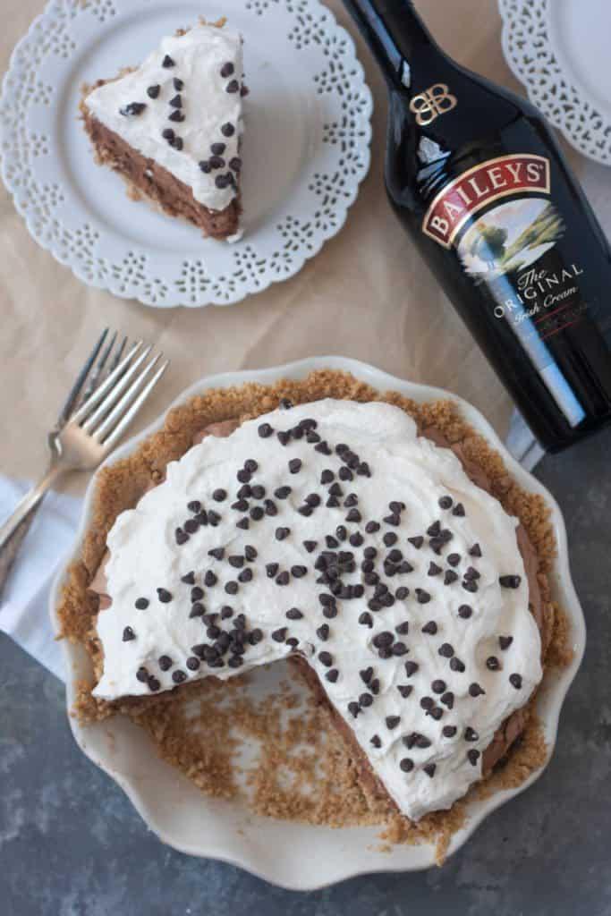 Bailey's Chocolate Irish Cream Pie next to a bottle of Bailey's Irish Cream