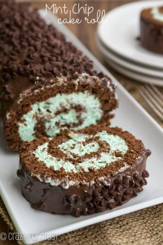 mint cake roll st patricks day desserts