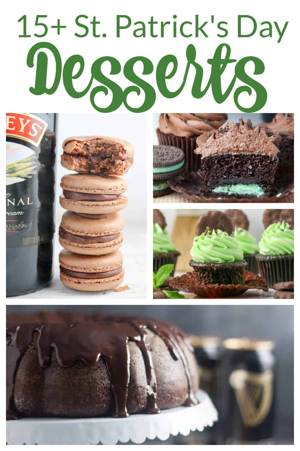 collage of st. patrick's day desserts