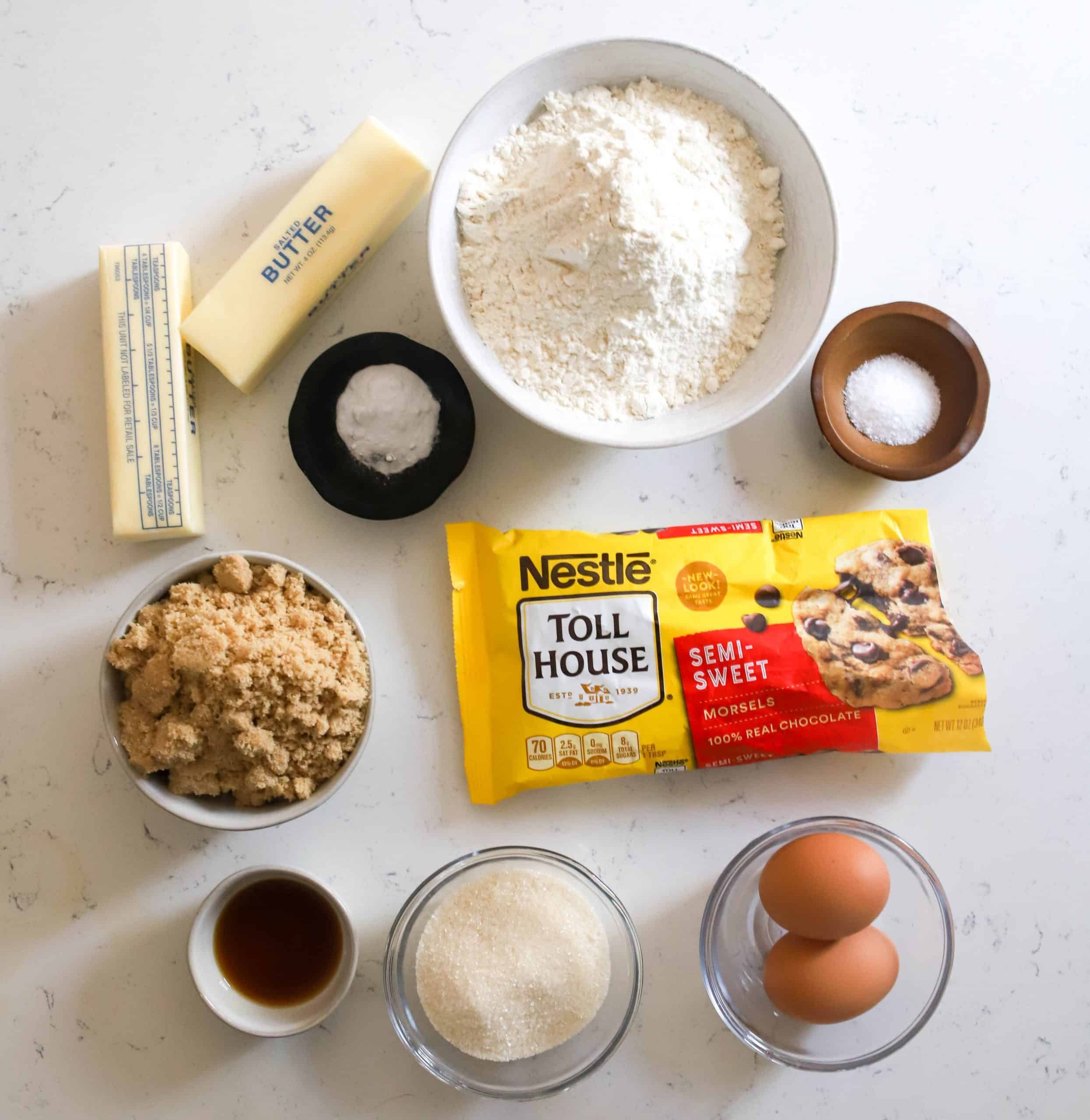 ingredients prepped for browned butter chocolate chip cookies