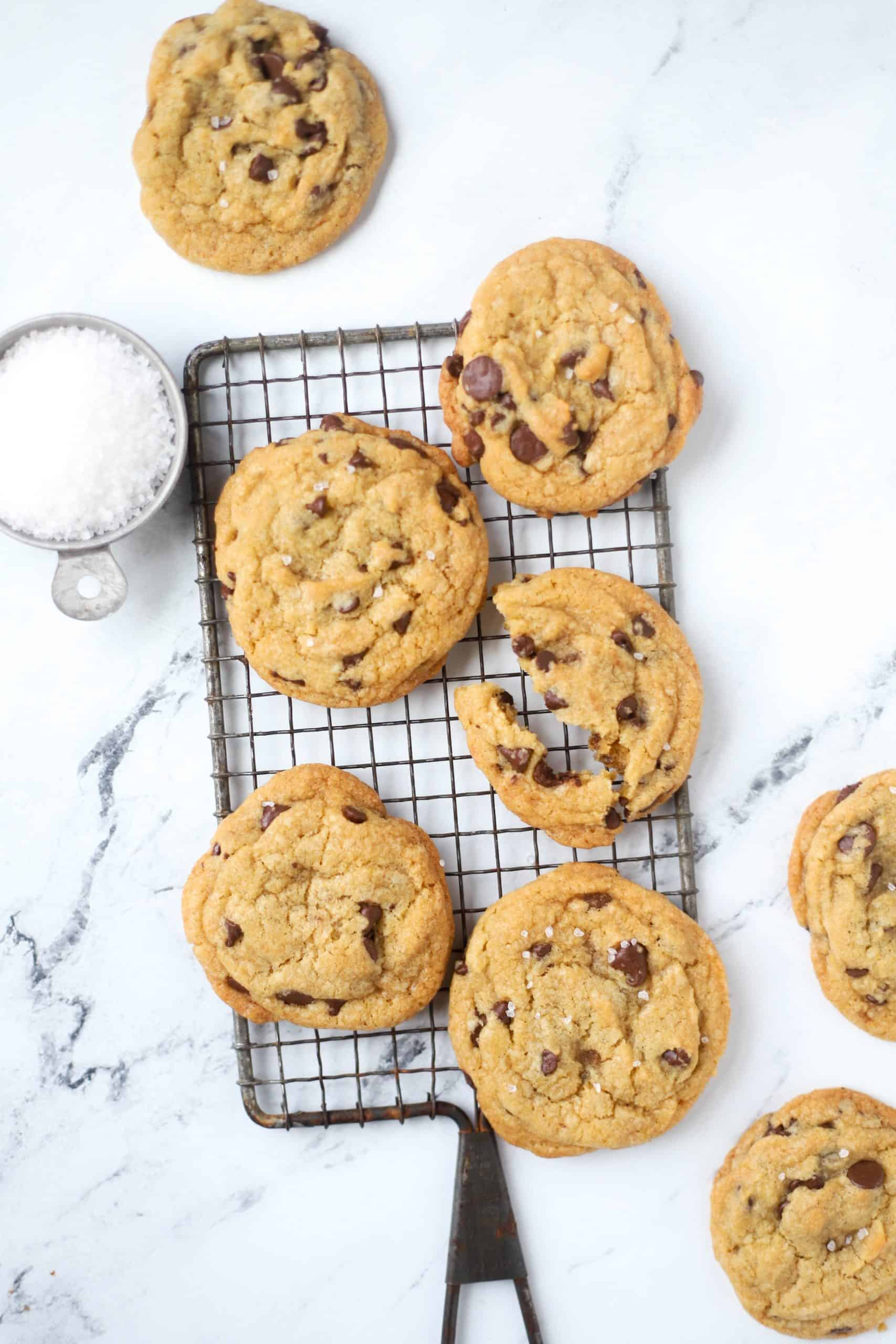 browned butter chocolate chip cookies on a cooling rack