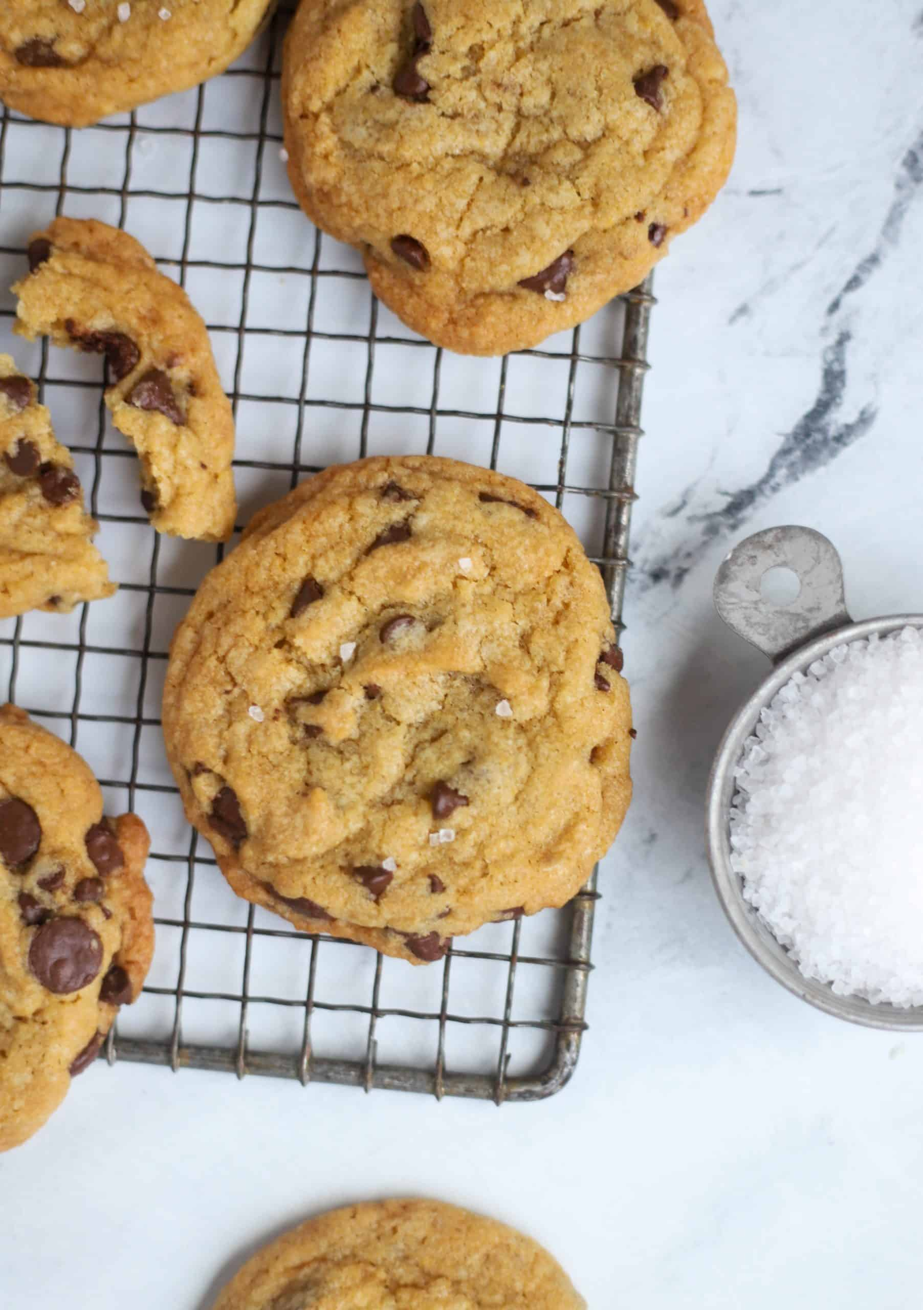 salted browned butter chocolate chip cookie on a cooling rack