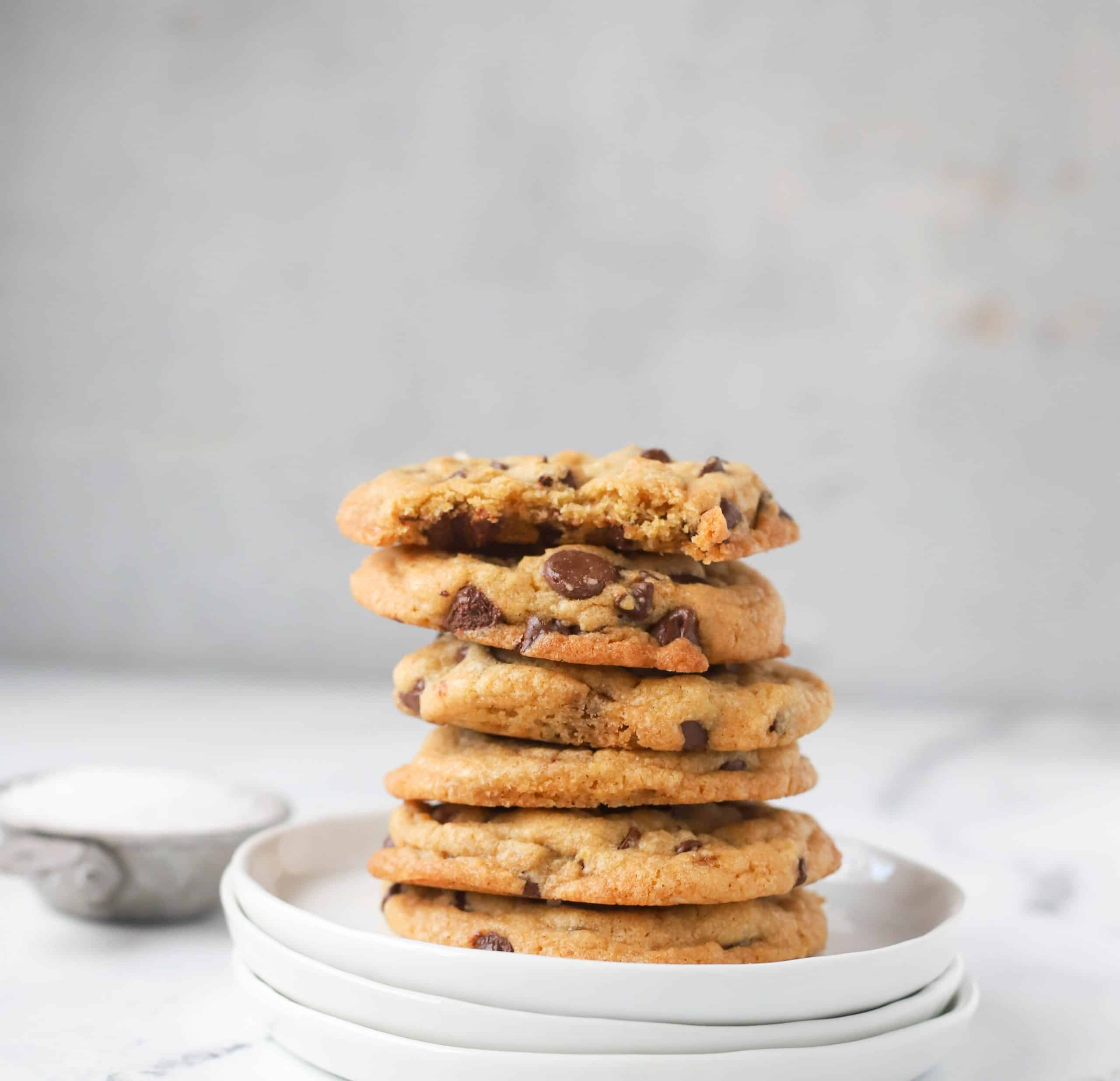 stack of browned butter chocolate chip cookies on a plate