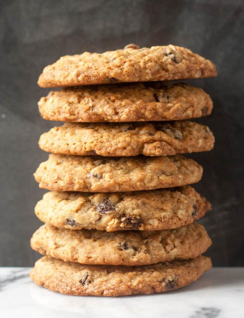 a stack of ultimate oatmeal raisin cookies