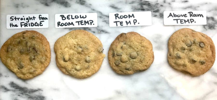 4 cookies made with different butter temperatures