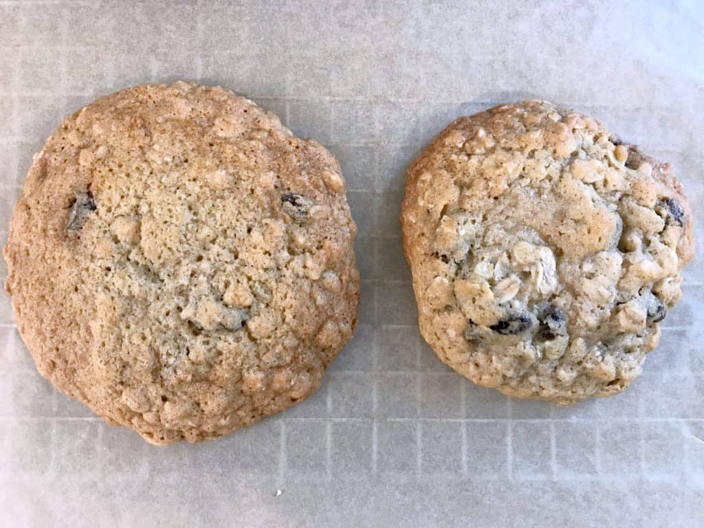 two oatmeal cookies, one is spread out more from not chilling the dough