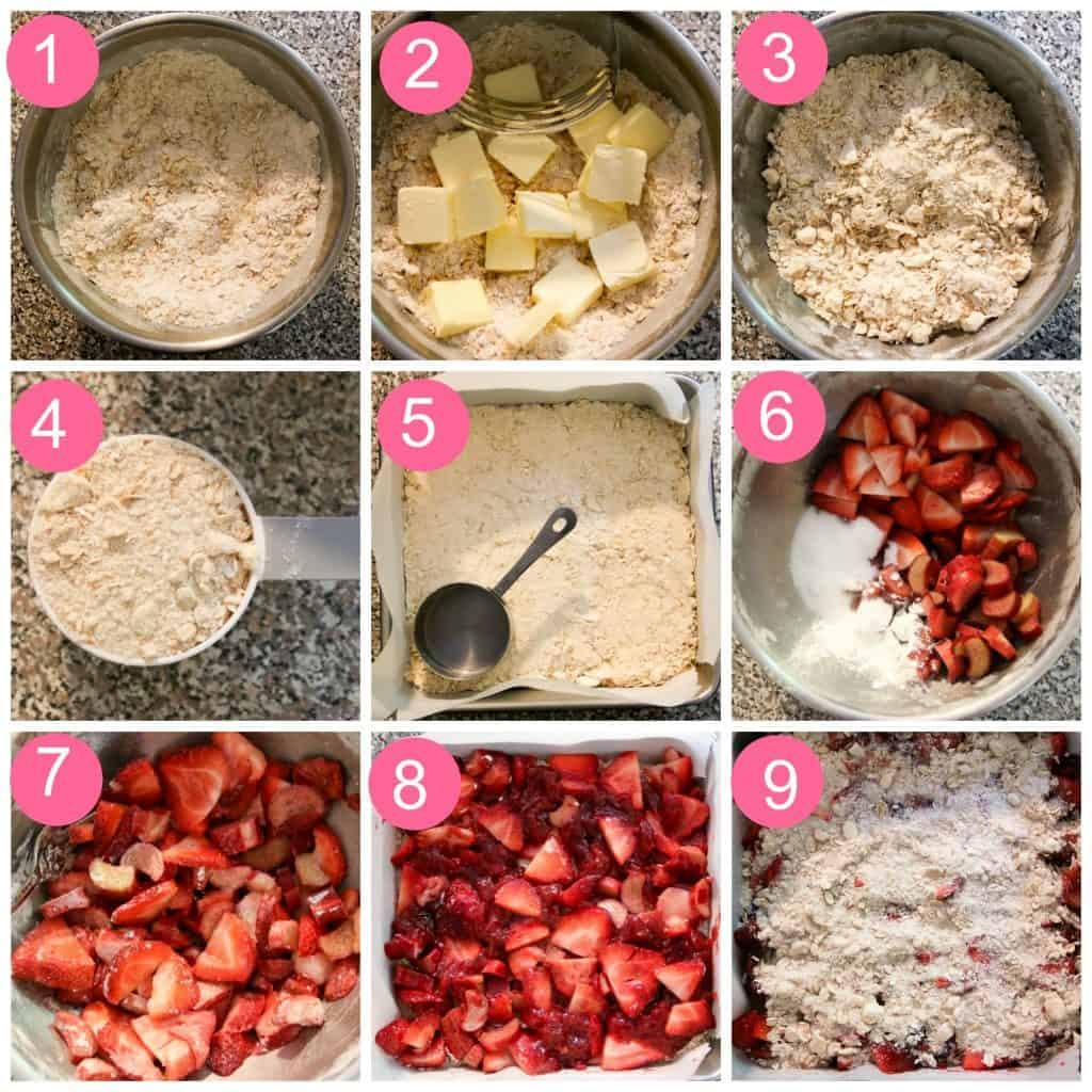 step by step photo collage of strawberry rhubarb bars