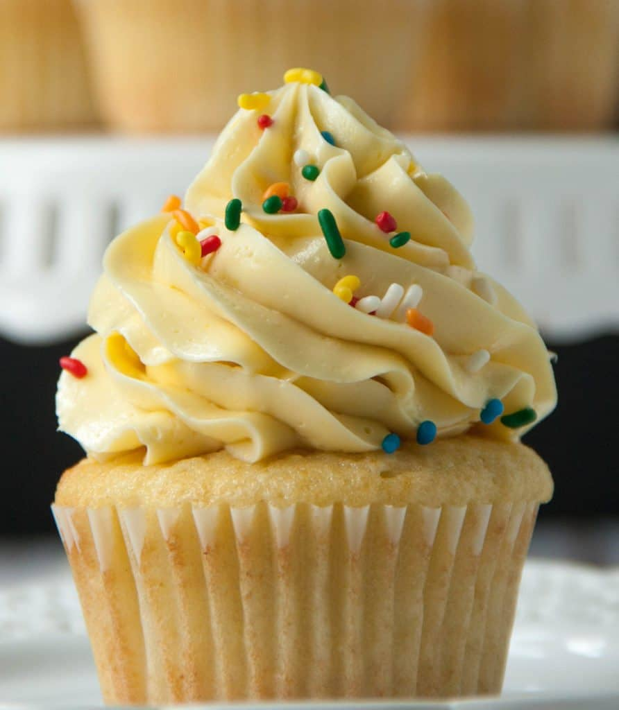 Vanilla Cupcake with french buttercream and sprinkles