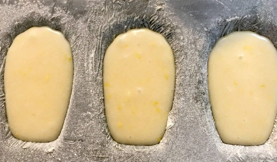 madeleine batter in the pan