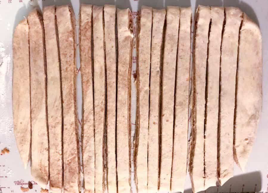 dough cut into 16 strips