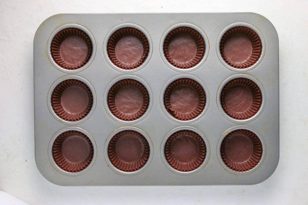cupcake liners in a cupcake pan