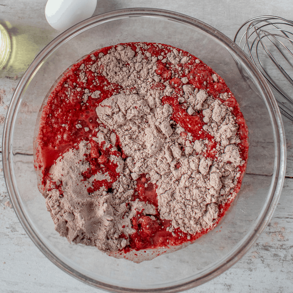 red velvet cupcake batter in a bowl