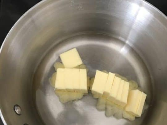 butter and water in a saucepan