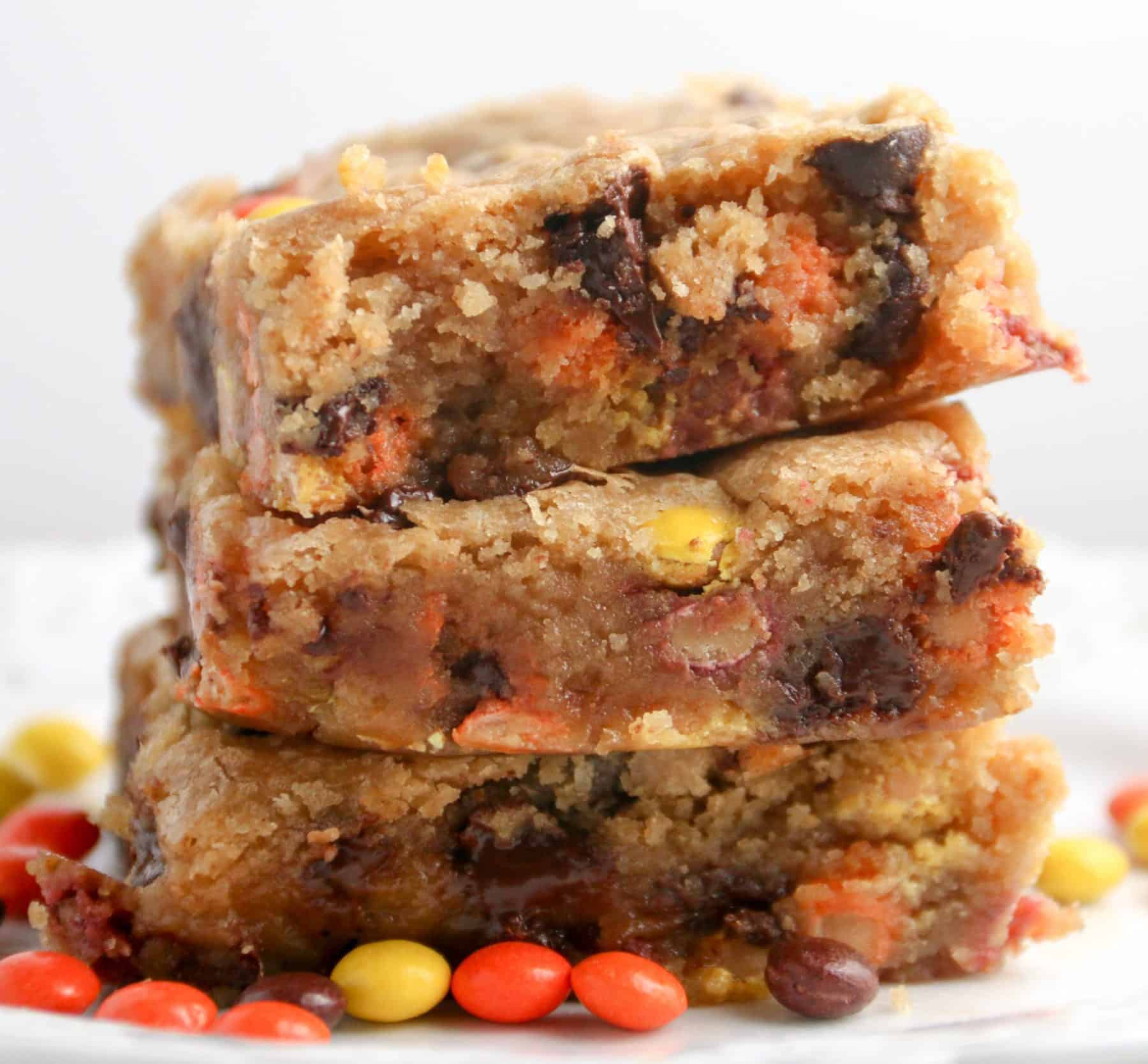 3 peanut butter blondies stacked on top of each other