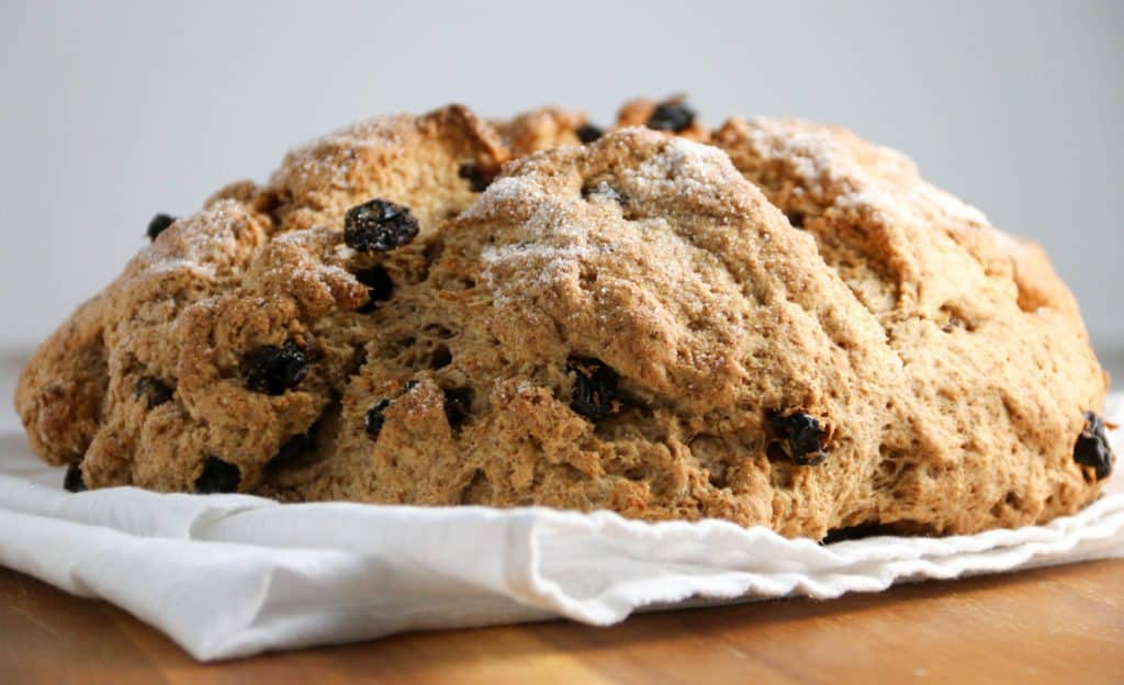 whole wheat irish soda bread on a white napkin