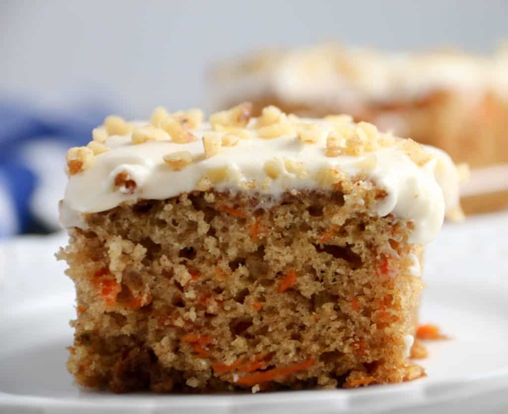 slice of carrot sheet cake on a plate