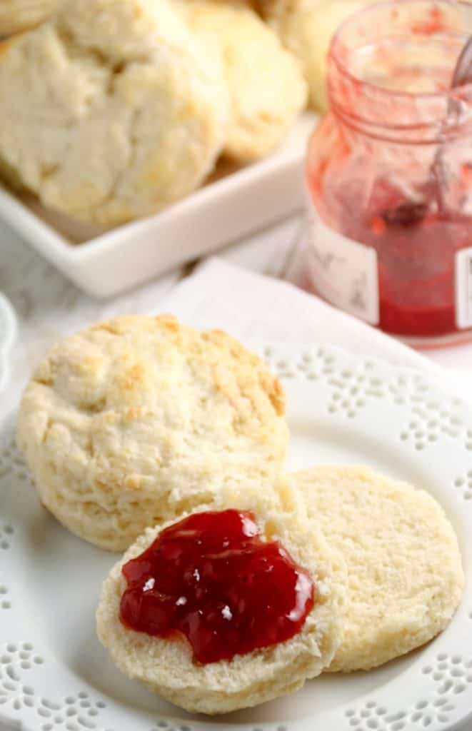 biscuits on a plate with jam