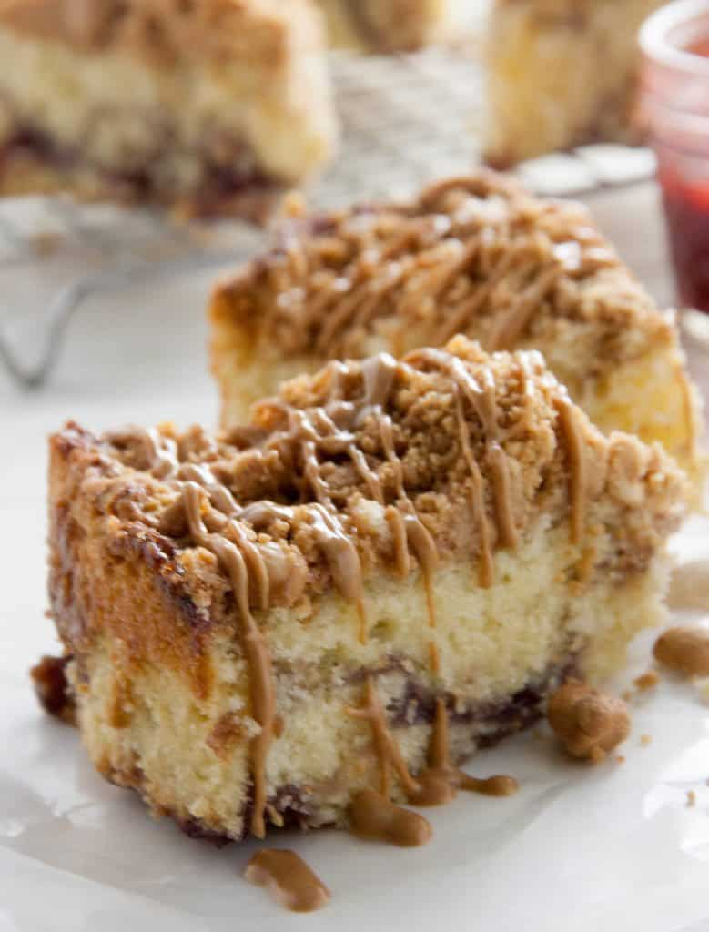 peanut butter coffee cake slice