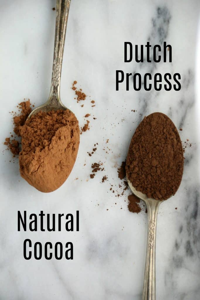 a spoon of natural cocoa and a spoon of dutch process cocoa