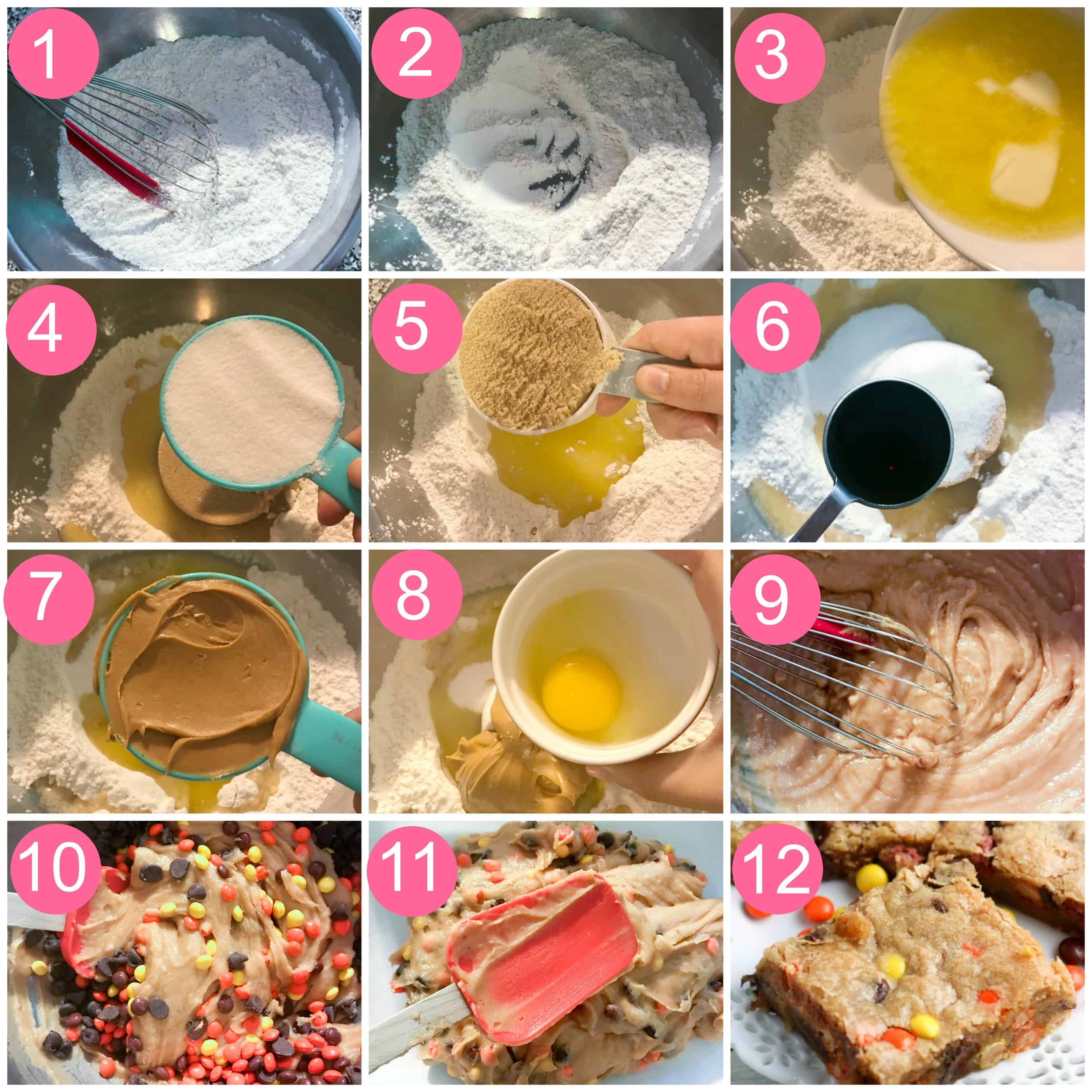 peanut butter blondies step by step collage