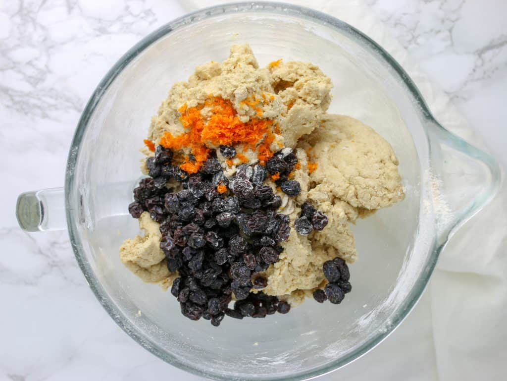 raisins and orange zest added to irish soda bread dough